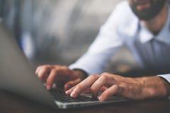Man typing on keyboard closeup Stock Photo