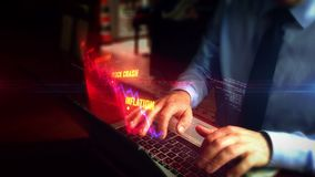 Man typing on keyboard with crisis chart hologram. Man typing on laptop with crisis chart hologram screen over keyboard. Recession, business crash, markets down stock footage