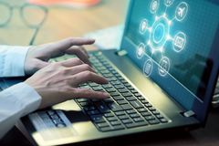 Man Typing Keyboard Laptop Hand with Researching Process. Man Typing Keyboard Laptop Hand with Researching Process Royalty Free Stock Photo