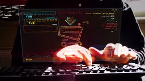 Man typing on keyboard with online shopping with cart symbol on hologram screen