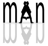 Man typography with two men  silhouettes  Stock Photography
