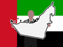 Man with UAE sign. Business man with UAE sign and flag illustration Stock Images