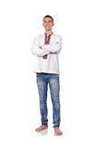 Man in Ukrainian embroidered shirt Royalty Free Stock Image