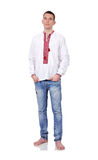 Man  in Ukrainian embroidered shirt Stock Images