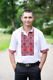 Man in a Ukrainian embroidery Stock Photo