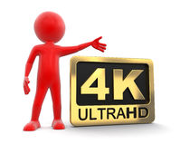 Man and Ultra HD 4K icon. Image with clipping path Stock Photo