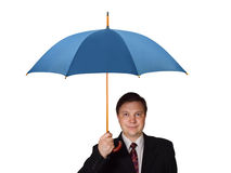 Man with umbrella. Isolated on white background royalty free stock photos