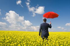 Man with umbrella stock photography