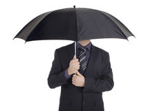 Man with an umbrella. Against white background Stock Images
