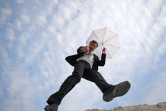Man and umbrella Royalty Free Stock Images