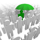 Man and umbrella. Man in crowd with an umbrella Stock Photography