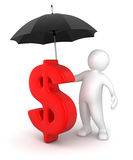Man with Umbrella and Dollar Sign (clipping path included) Royalty Free Stock Photos