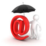 Man with Umbrella and E-mail Sign (clipping path included) Stock Photography