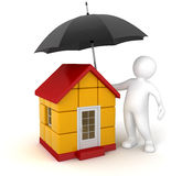 Man with Umbrella and House (clipping path included) Stock Photos