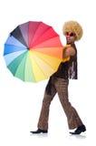 Man with umbrella isolated Royalty Free Stock Photo