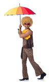 Man with umbrella isolated Stock Photography