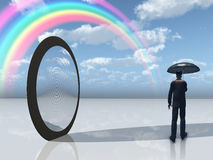 Man with umbrella and mirror opening Stock Images