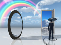 Man with umbrella and mirror opening Stock Photo