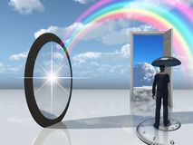 Man with umbrella and mirror Royalty Free Stock Images