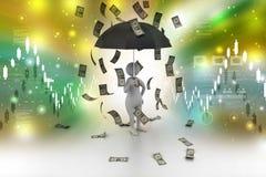 Man and umbrella in money rain. 3d illustration of man and umbrella in money rain Royalty Free Stock Photo