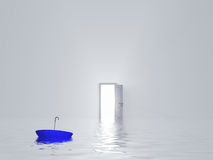 Man with umbrella in pure white room. With open door Stock Image