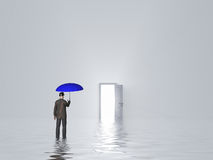Man with umbrella in pure white room. With open door Royalty Free Stock Photos