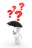 Man with Umbrella and questions (clipping path included) Stock Photo
