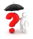 Man with Umbrella and questions (clipping path included) Royalty Free Stock Photography