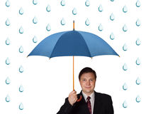 Man with umbrella and rain. Isolated on white background royalty free stock image