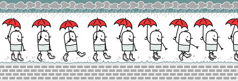 Man with umbrella & rain boots. Man with umbrella & rain boots -walking cartoon character for animated sprite Royalty Free Stock Image