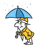 Man umbrella rain cartoon illustration Royalty Free Stock Photography