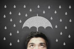 Man with umbrella and raindrops Stock Photography