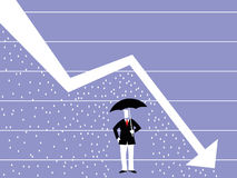 Man with umbrella standing in the rain under a declining curve. Royalty Free Stock Photography