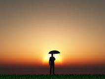 Man with umbrella sun Stock Photo