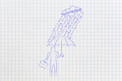 Man with umbrella under binary code rain, data breach protection. Data breah protection concept: business man with umbrella under a rain of binary code from vector illustration