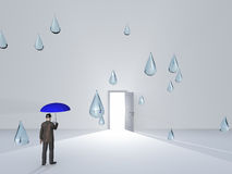 Man with umbrella and water droplets in white room Royalty Free Stock Photography