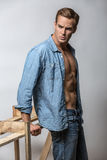 Man in unbuttoned shirt Royalty Free Stock Photos