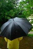 Man under the  black umbrella while rainig Royalty Free Stock Photography