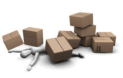 Man under boxes. 3D render of a man under a pile of fallen boxes Stock Photos