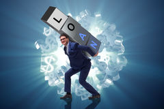 The man under the burden of loan Stock Photo