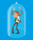 Man under a glass dome Royalty Free Stock Photo
