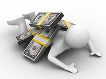 Man under money on white background Royalty Free Stock Photos