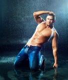 Man under the rain Royalty Free Stock Photo