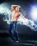Man under the rain Stock Image