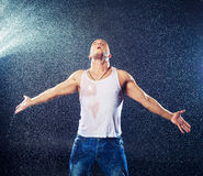 Man under the rain Stock Images