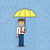 Man under umbrella. stock illustration
