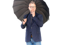 Man under umbrella Royalty Free Stock Images