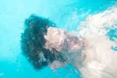 A man under the water. A man submerged under the pool water royalty free stock images