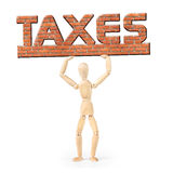 Man under the weight of taxes. Abstract image with a wooden puppet Royalty Free Stock Photography