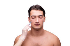 The man undergoing plastic surgery isolated on white Stock Images